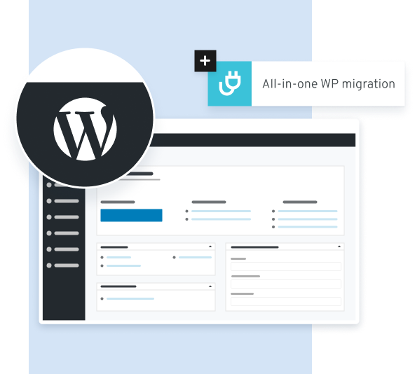 Illustration showing Wordpress panel and next to it tile with plugin icon.