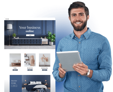 A smiling man with a tablet in his hands and a thumbnail of a furniture website next to him.